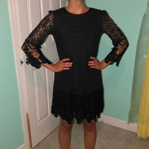 Black boohoo dress, eyelet detailing